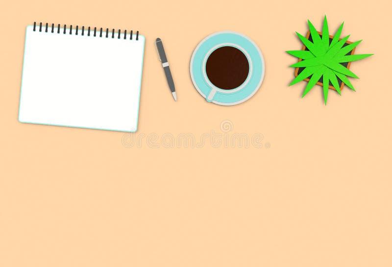Imagen de la visión superior del cuaderno abierto con las páginas en blanco al lado de la taza de café en la tabla marrón aliste  imagen de archivo libre de regalías