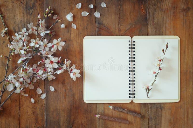Imagen de la visión superior del cuaderno en blanco después abierto blanco del árbol de las flores de cerezo de la primavera en l fotografía de archivo libre de regalías
