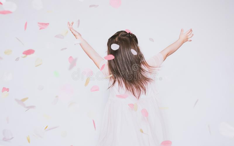 Imagen de la vista posterior de la niña que lleva el vestido rosado en Tulle con la corona de la princesa en la cabeza en las man fotografía de archivo libre de regalías