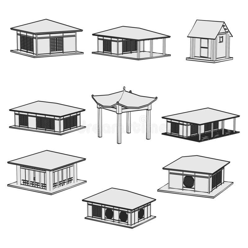 Imagen de las casas de Japón fijadas stock de ilustración