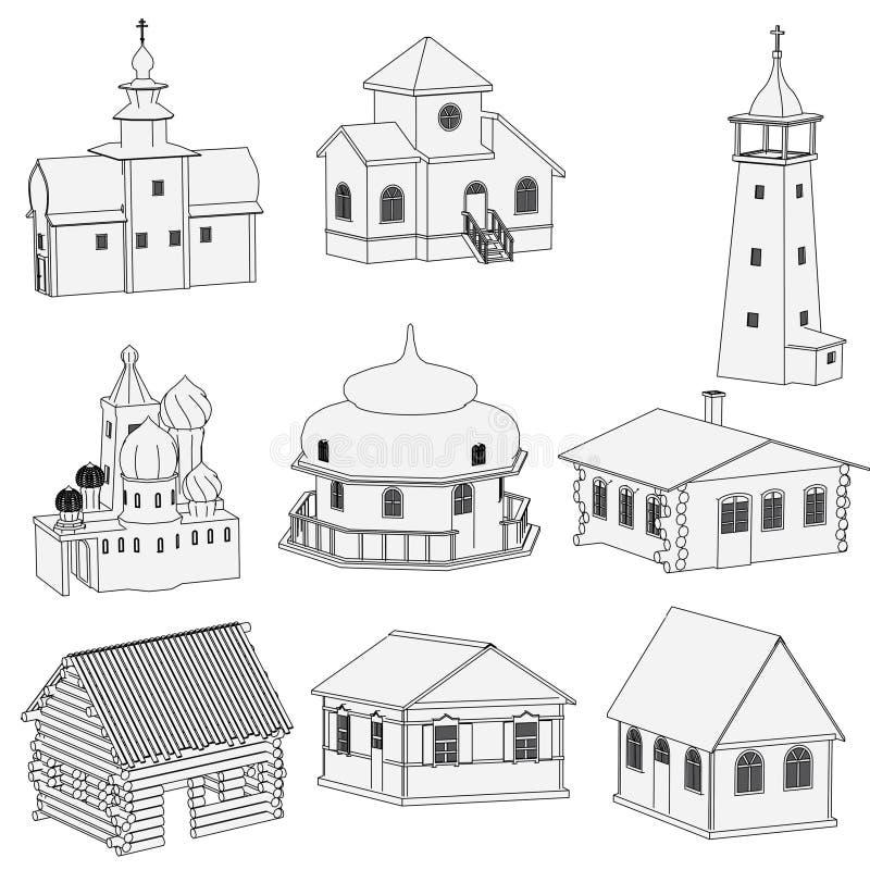 Imagen de las casas rusas stock de ilustración