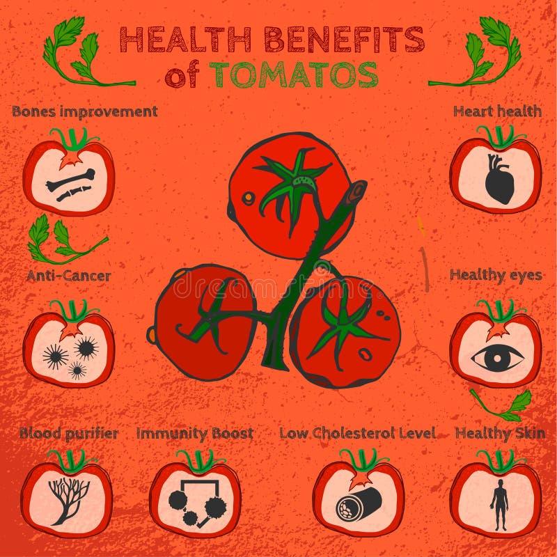 Imagen de las ventajas de los tomates stock de ilustración