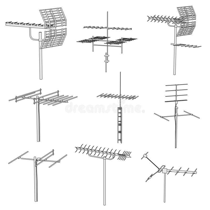 Imagen de los antennes de la TV ilustración del vector