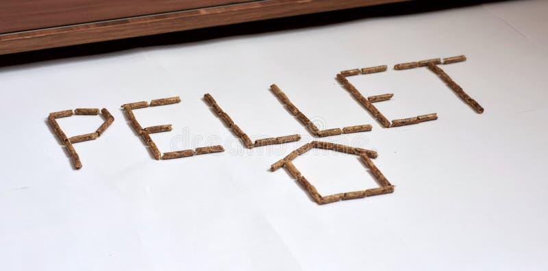 Imagen de los granos de madera del combustible de la pelotilla en las letras y el hogar blancos de formación del fondo imagenes de archivo