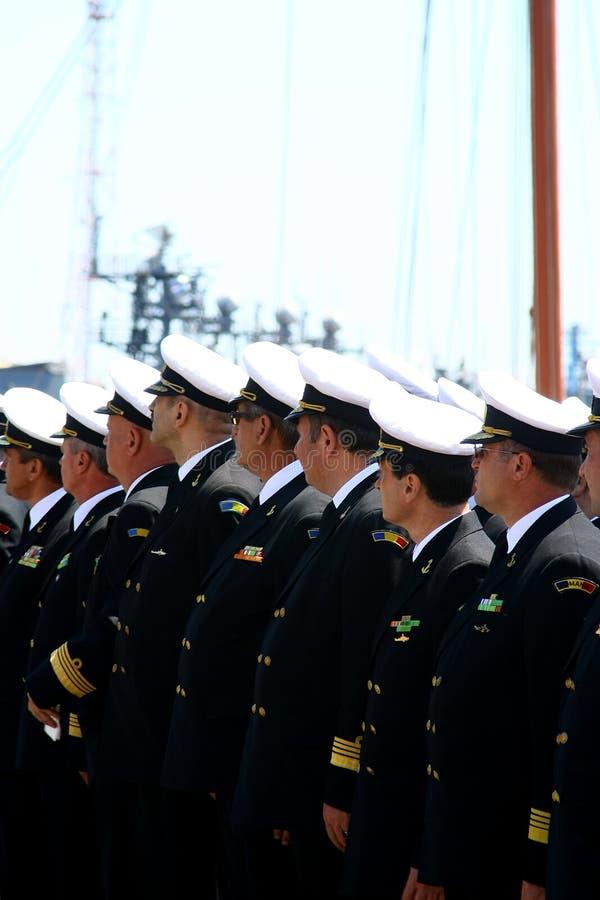 Imagen de los oficiales de la navegación en la formación del desfile fotografía de archivo libre de regalías