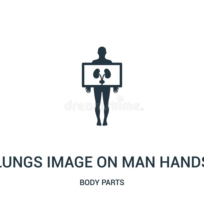 imagen de los pulmones en vector del icono de las manos del hombre de la colección de las partes del cuerpo Línea fina imagen de  libre illustration