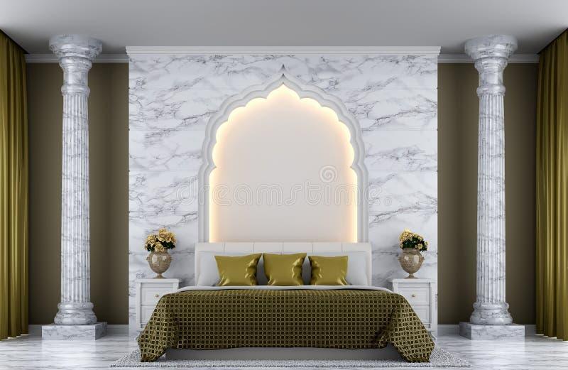 Imagen de lujo de la representación del dormitorio 3d stock de ilustración