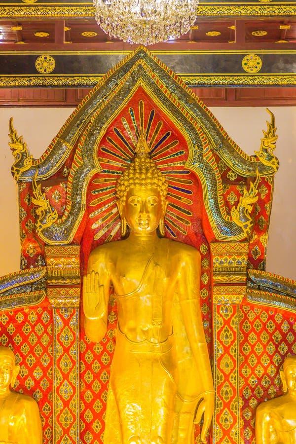 Imagen de oro derecha grande hermosa de Buda con la decoración interior del techo, nombrada Phra Chao Attarot en Wat Chedi Luang  fotografía de archivo libre de regalías