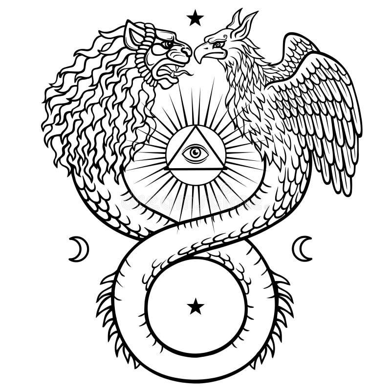 Imagen de ouroboros animales fantásticos con un cuerpo de una serpiente y de dos cabezas de un león y de un pájaro Pirámide sagra ilustración del vector