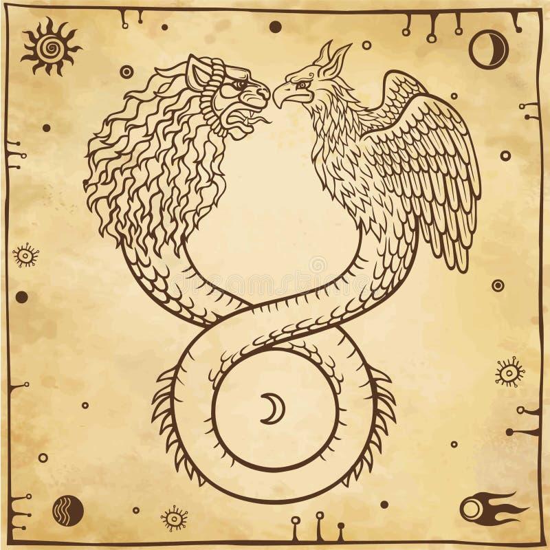 Imagen de ouroboros animales fantásticos con un cuerpo de una serpiente y de dos cabezas de un león y de un pájaro Símbolos de la stock de ilustración