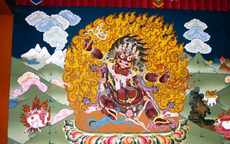 Imagen de Padmasambhava aka Guru Rinpoche en la pared del monasterio de Taktsang Lakhang, Paro, Bhután imagenes de archivo