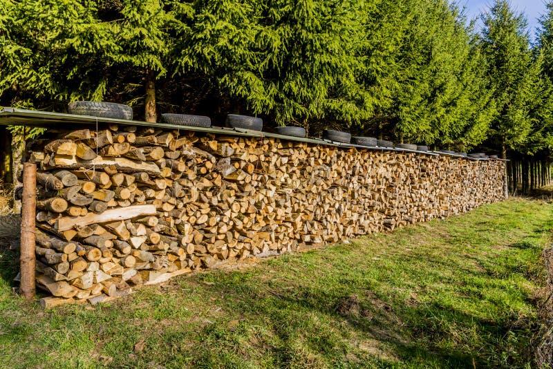 Imagen de pilas de madera con un tejado y los neumáticos de la hoja en el top en un prado imagen de archivo libre de regalías