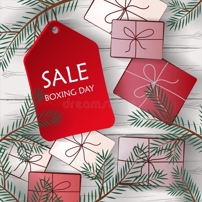 Imagen de regalos en un fondo blanco de tableros de madera libre illustration