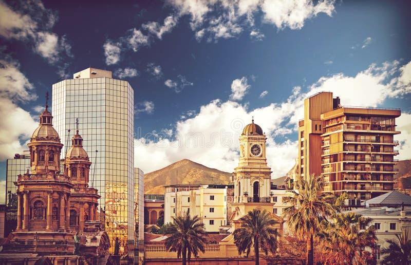 Imagen de Santiago de Chile céntrica, Chile del estilo del vintage foto de archivo libre de regalías