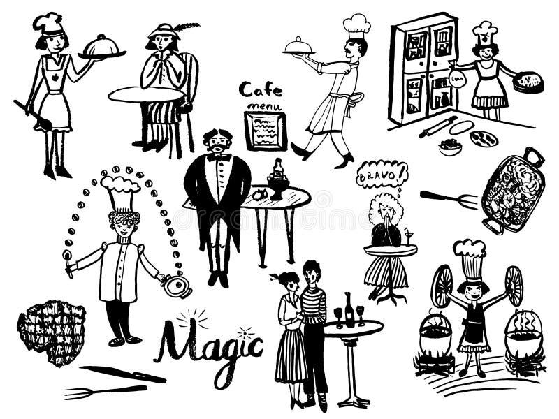 Imagen de un sistema grande de los elementos aislados en el estilo de un ejemplo cómico del vintage, cocineros imágenes de archivo libres de regalías
