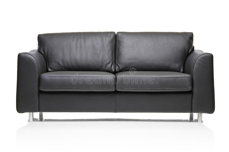 Imagen de un sofá de cuero negro moderno fotografía de archivo libre de regalías