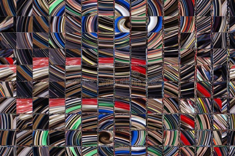 Imagen de un vitral multicolor con el modelo irregular del bloque en una tonalidad del azul, formato cuadrado imágenes de archivo libres de regalías