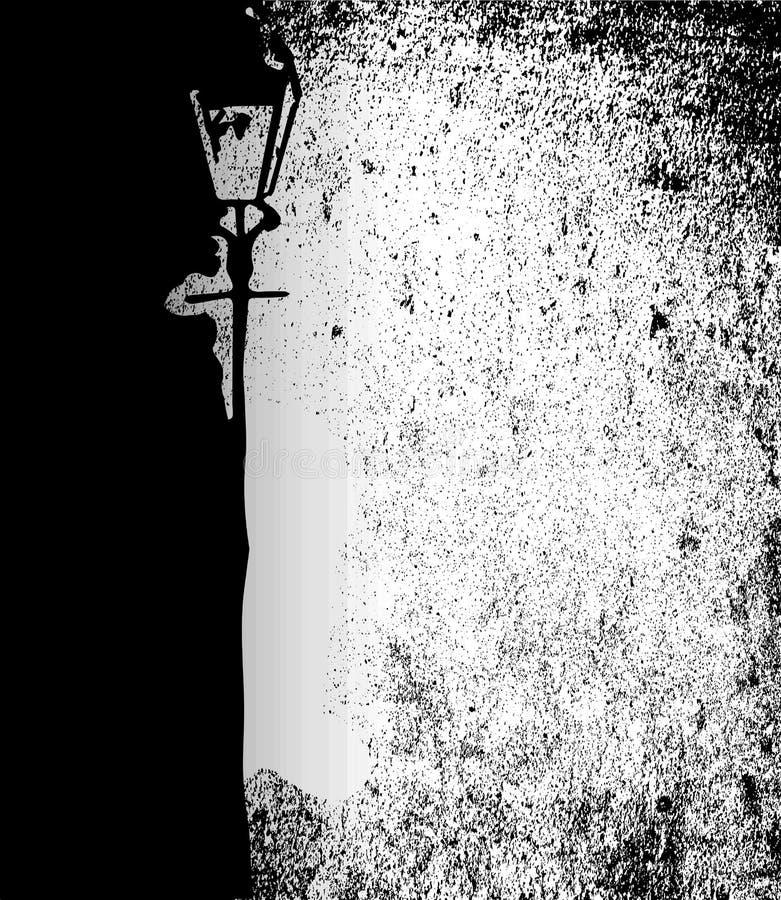 Imagen de una calle gravemente encendida con una luz de gas libre illustration