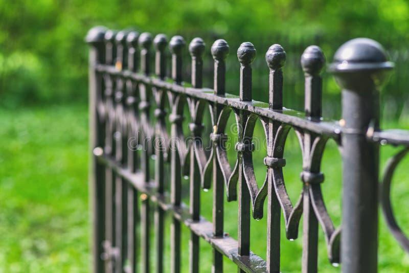 Imagen de una cerca labrada decorativa hermosa del arrabio con la forja art?stica imagen de archivo