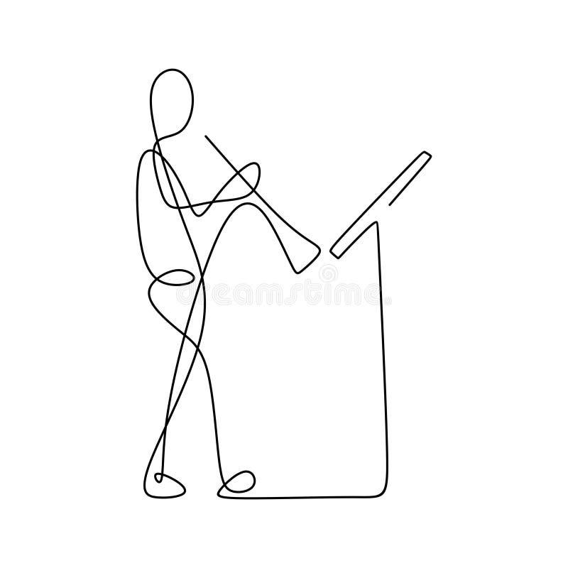 imagen de una línea continua de hombres que tocan una trompeta ilustración del vector