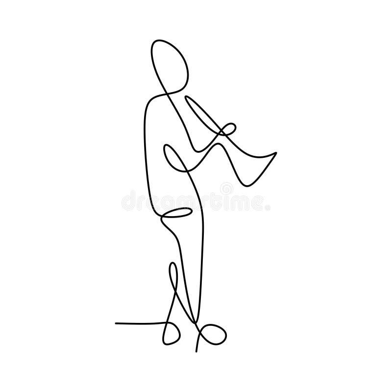 imagen de una línea continua de hombres que tocan una trompeta libre illustration