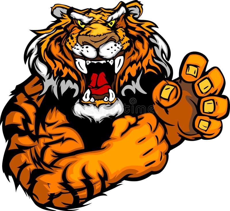Imagen de una mascota del tigre con las manos de la lucha libre illustration