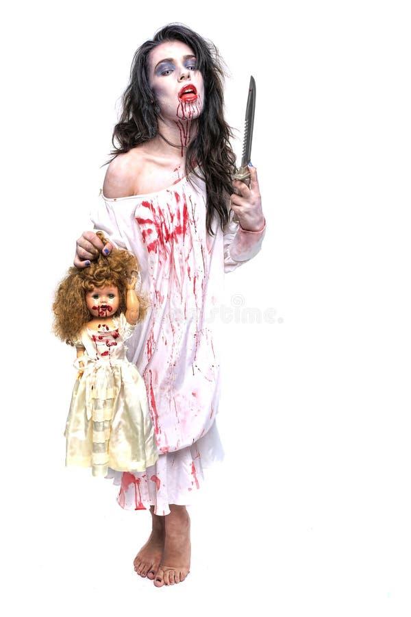Imagen de una mujer del psicópata de la sangría imagen de archivo libre de regalías