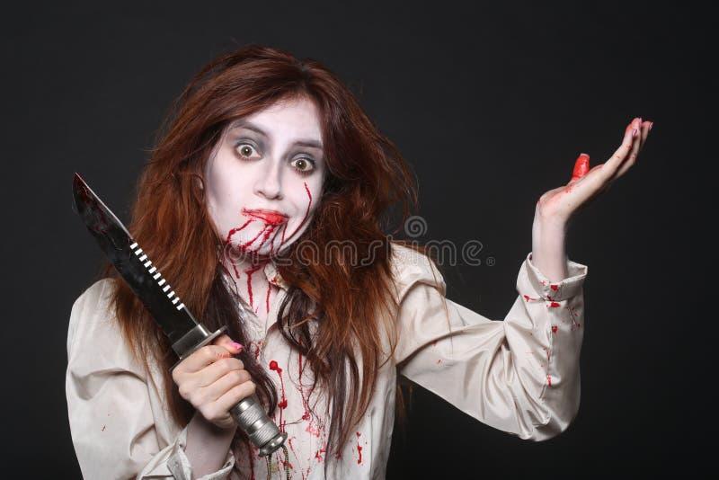 Imagen de una mujer del psicópata de la sangría imágenes de archivo libres de regalías