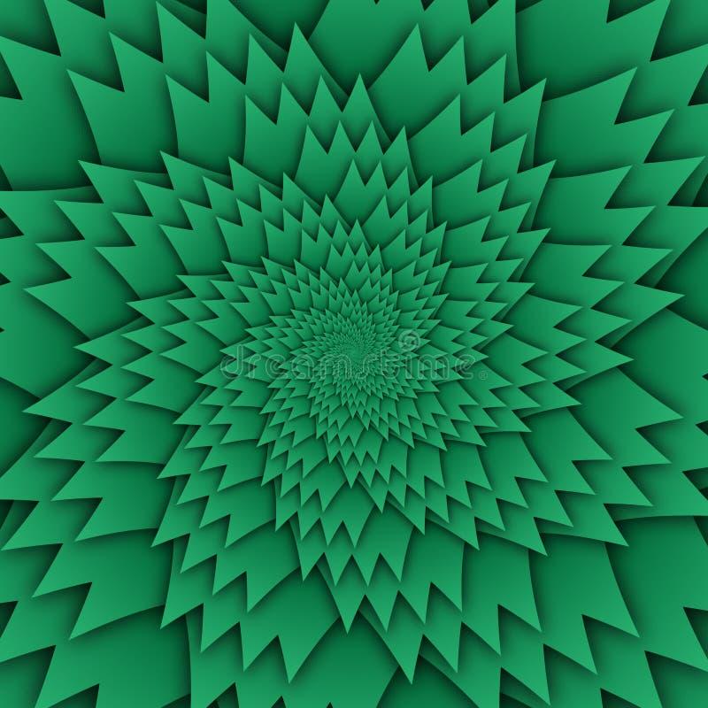 Imagen decorativa del cuadrado del fondo del verde del modelo de la mandala abstracta de la estrella, modelo de la imagen del art ilustración del vector