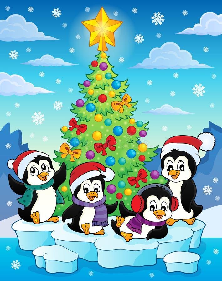 Imagen 2 del árbol de navidad y de los pingüinos stock de ilustración