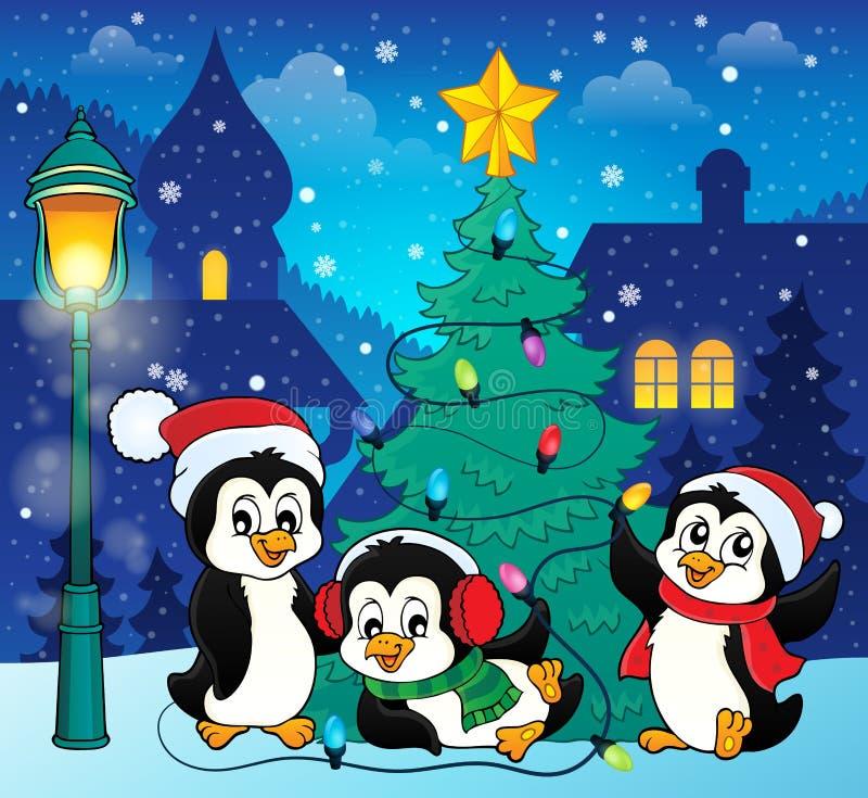 Imagen 5 del árbol de navidad y de los pingüinos libre illustration