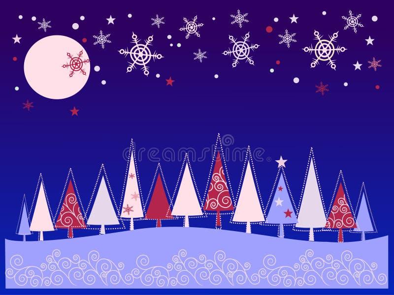 Imagen del Año Nuevo con el piel-árbol ilustración del vector