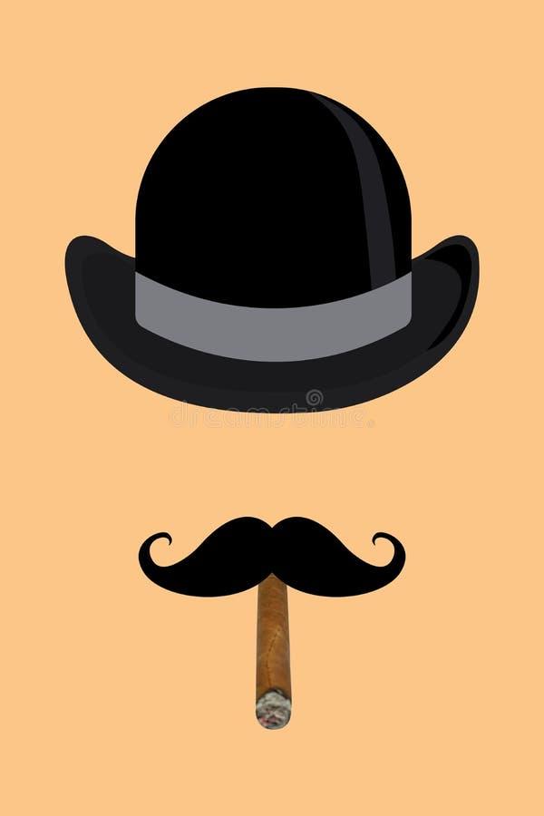 Imagen del arte de la belleza Sombrero de copa del arte, bigote, cigarro en fondo del color libre illustration