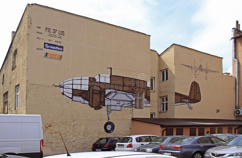 Imagen del avión en la pared imágenes de archivo libres de regalías