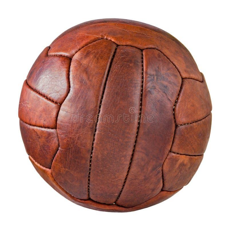 Imagen del bal?n de f?tbol de cuero retro fotografía de archivo
