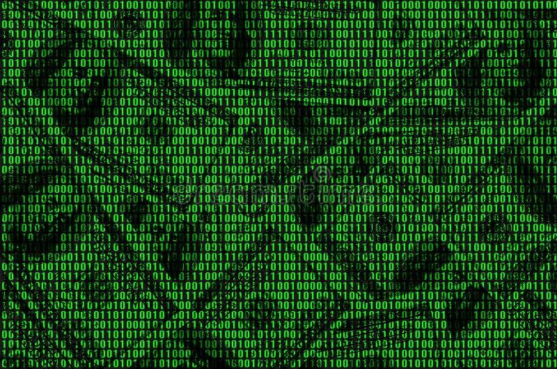Imagen del código binario de los números verdes claros, con los cuales usted puede ver muchos dólares libre illustration
