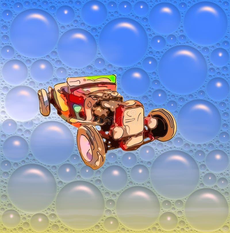Imagen del cabriolé antiguo rojo divertido en burbujas azules stock de ilustración