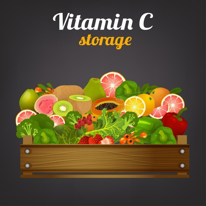 Imagen del cajón de la fruta ilustración del vector