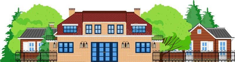 Imagen del chalet de dos pisos con los árboles stock de ilustración