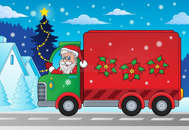 Imagen 2 del coche de entrega del tema de la Navidad stock de ilustración