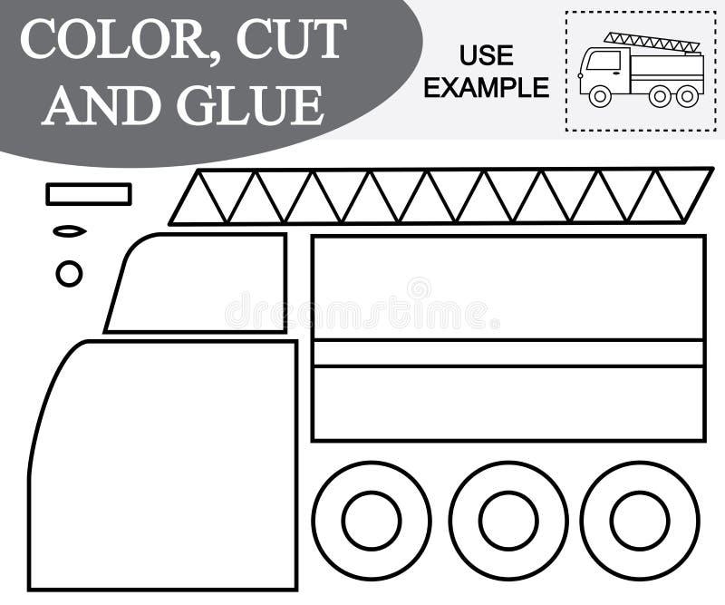 Imagen del color, del corte y del pegamento del coche de la salida de incendios Juego educativo para los niños ilustración del vector