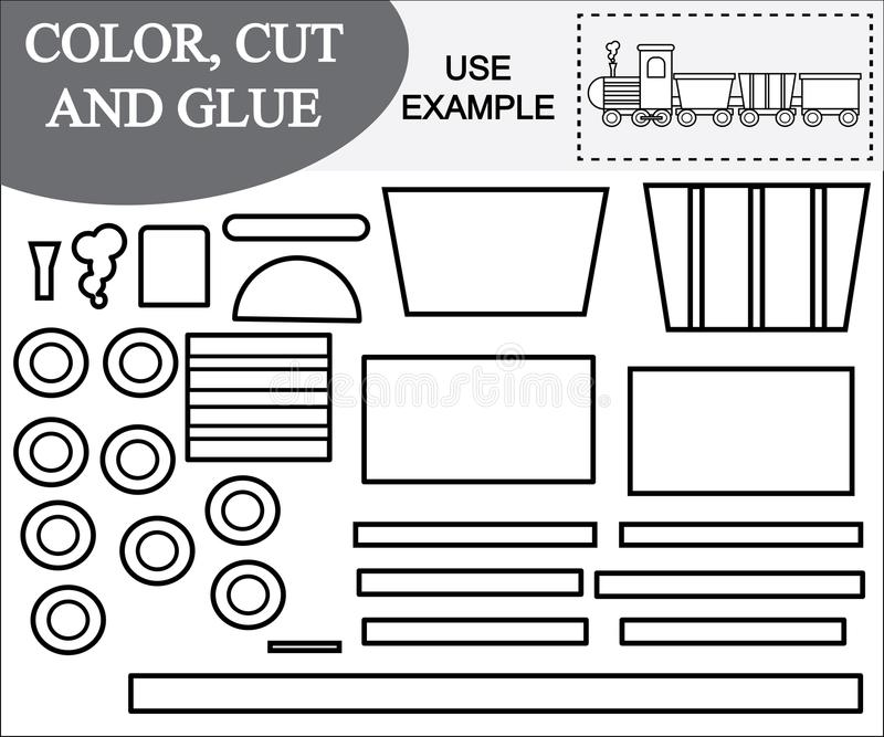 Imagen del color, del corte y del pegamento del tren Juego educativo para los niños ilustración del vector