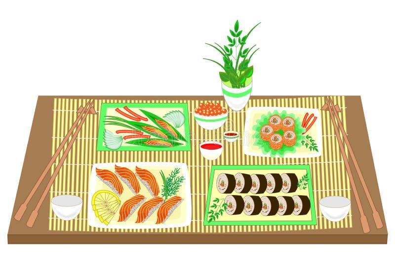 Imagen del color Platos refinados de la cocina nacional japonesa En la tabla para los mariscos deliciosos, sushi, rollos, caviar  ilustración del vector