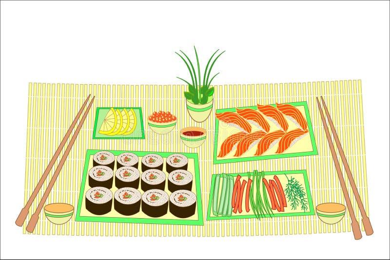 Imagen del color Platos refinados de la cocina nacional japonesa En la tabla para los mariscos deliciosos, sushi, rollos, caviar  libre illustration
