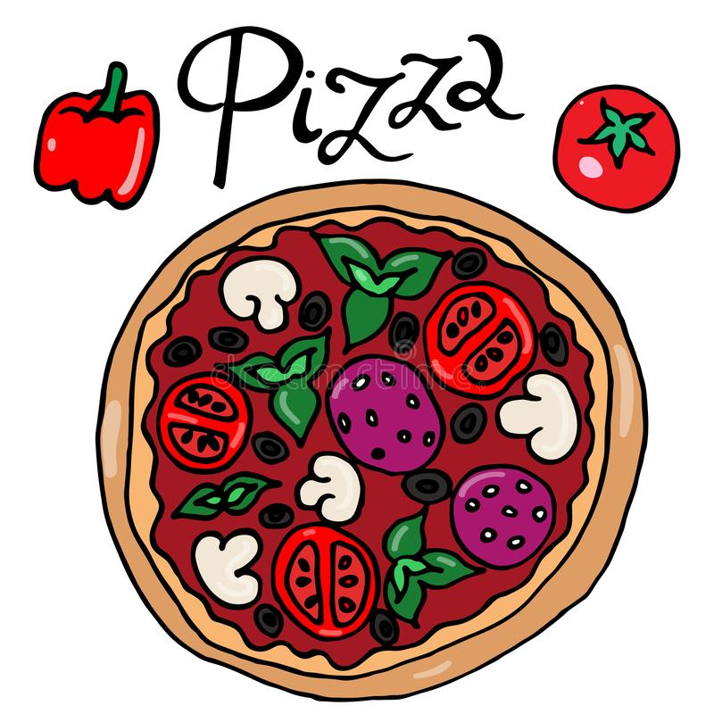 Imagen del color del vector simple del dibujo a pulso de la pizza stock de ilustración