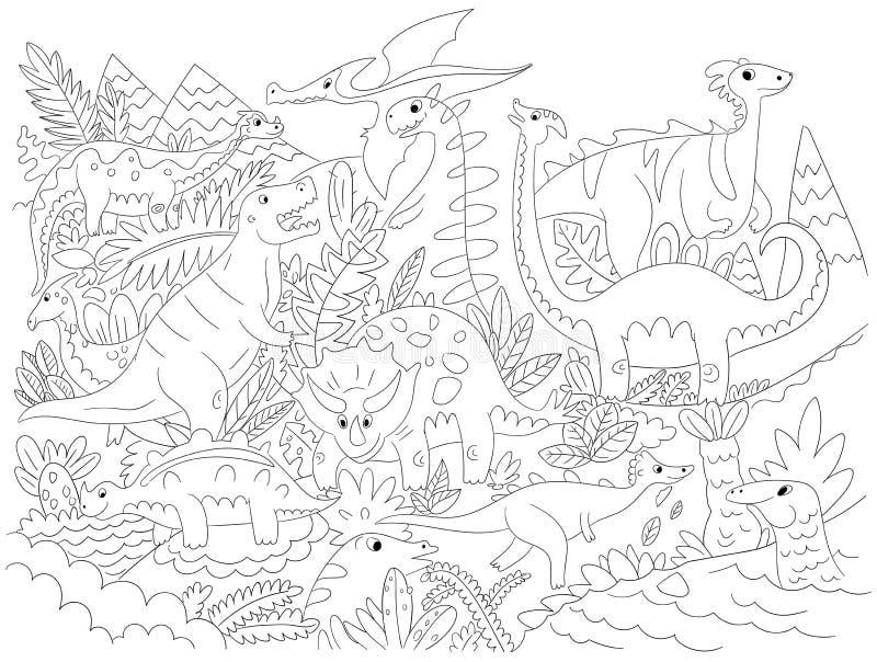 Imagen del colorante de la historieta del carácter del dinosaurio del ejemplo del vector imagenes de archivo