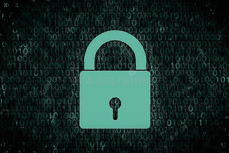 Imagen del concepto de datos cifrados en ordenador Cerradura brillante delante del fondo verde digital foto de archivo libre de regalías