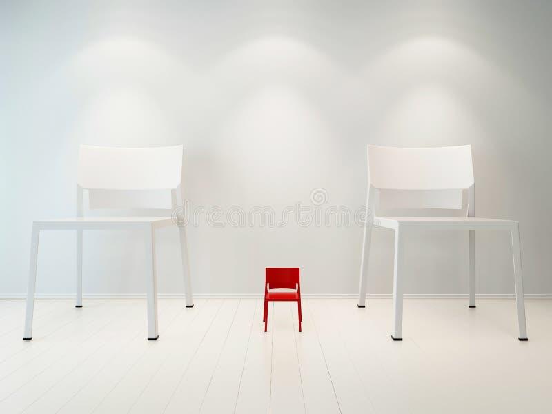 Imagen del concepto de la silla roja del litte contra la silla blanca libre illustration