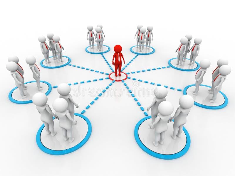 Imagen del concepto que representa la red, establecimiento de una red, conexión 3d rinden ilustración del vector