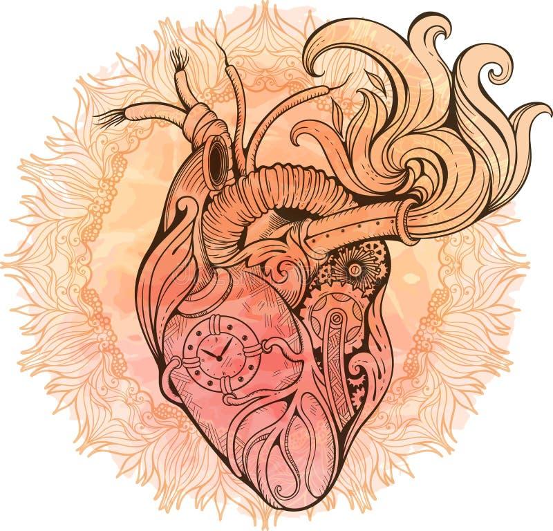 Imagen del corazón en estilo del steampunk Fondo de la acuarela con la Florida stock de ilustración